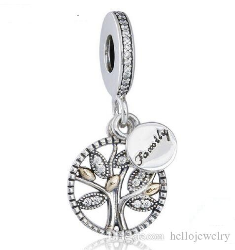 925 Sterling Silver Family Lucky Wish Tree Charm Love Bead Fit for European Pandora charm Bracelet