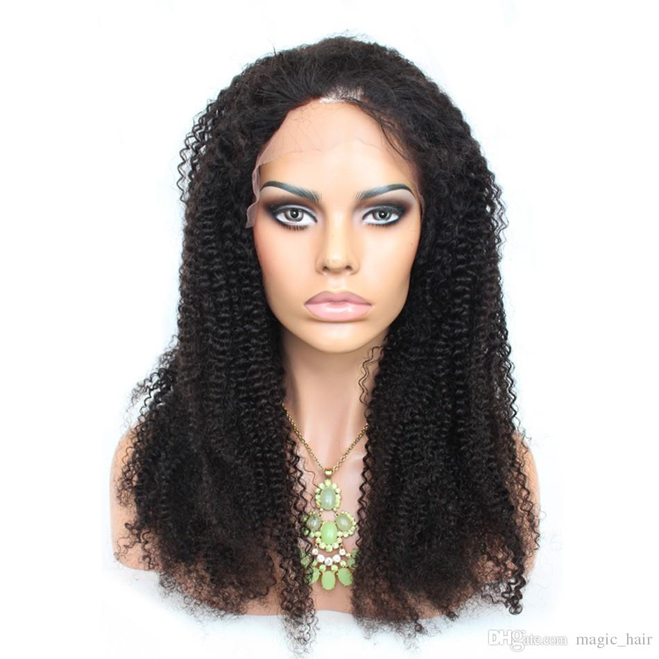 Long Style Kinky Curly Full Lace Wig Unprocessed Human Hair Lace Front Wigs 8A Brazilian Kinky Afro Wigs Black Women With Baby Hair