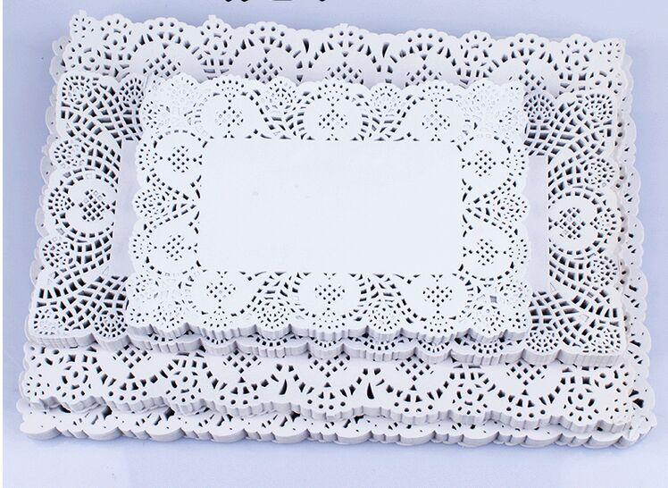 7*12 inch Rectangle White lace Paper Doilies Cake Pad for Christmas party decoration Plast mat