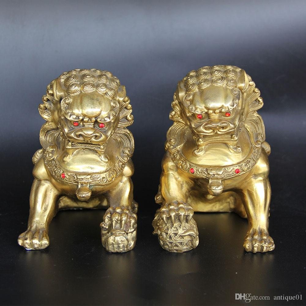 Chinese FengShui Brass Foo Fu Dog Guardion Lion Beast Play Ball Statue Pair home decoration