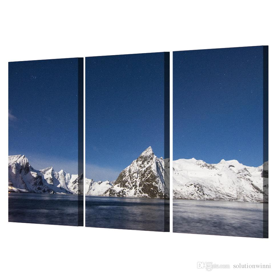 Framed HD Printed Ice Mountain Lake Picture Wall Art Canvas Print Decor Poster Canvas Modern Oil Painting