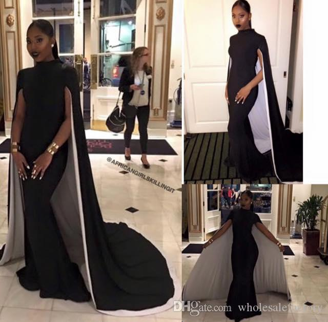 2017 Hot Floor Length Black Evening Dresses Sheath High Neck Arabic  Vestidos De Festa Formal Party Prom Gowns With Capes Mid Length Evening  Dresses Modern ...