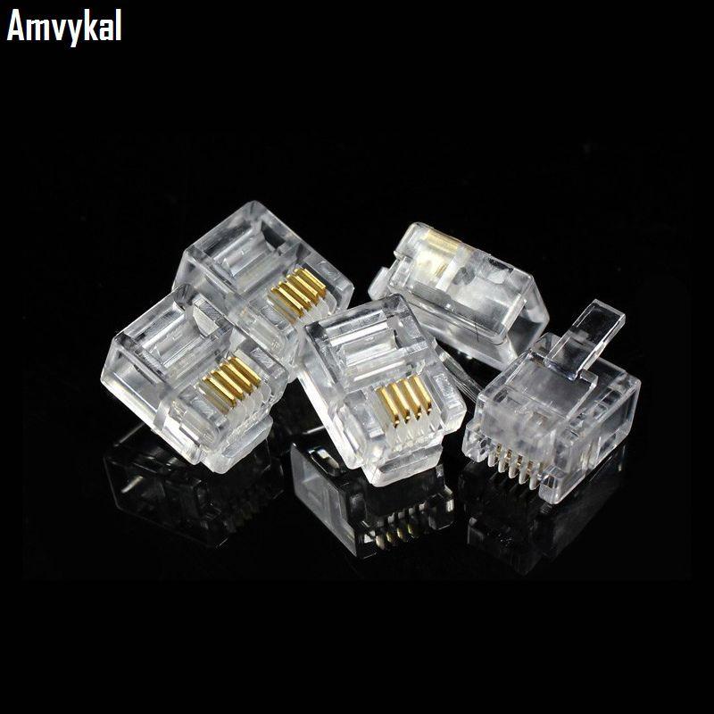 Amvykal Alta Qualidade RJ-11 6P4C Modular Plug Conector de Telefone Telefone RJ11 6 Pinos 4 Contactos Adaptador de Cabeça de Cristal