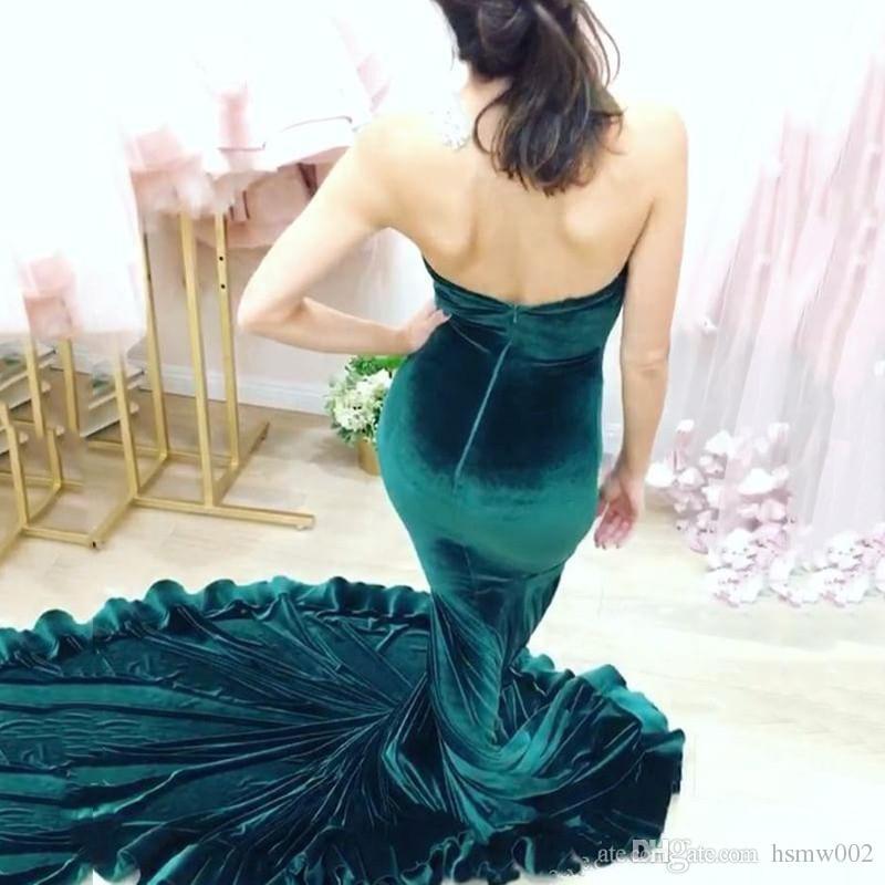 Sexy Schatz Hohe Qualität Einfache Lange Meerjungfrau Prom Kleider Heißer Verkauf Dunkelgrün Velour Prom Party Kleider Abendkleider