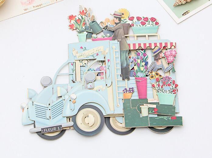 New Romantic Papier 3D-Laser-Pop-Up-Gruß Geschenkkarten Handgemachte Geburtstagskarten Postkarten Wünsche 5014 Blumen-Paar-Etikette Kraft