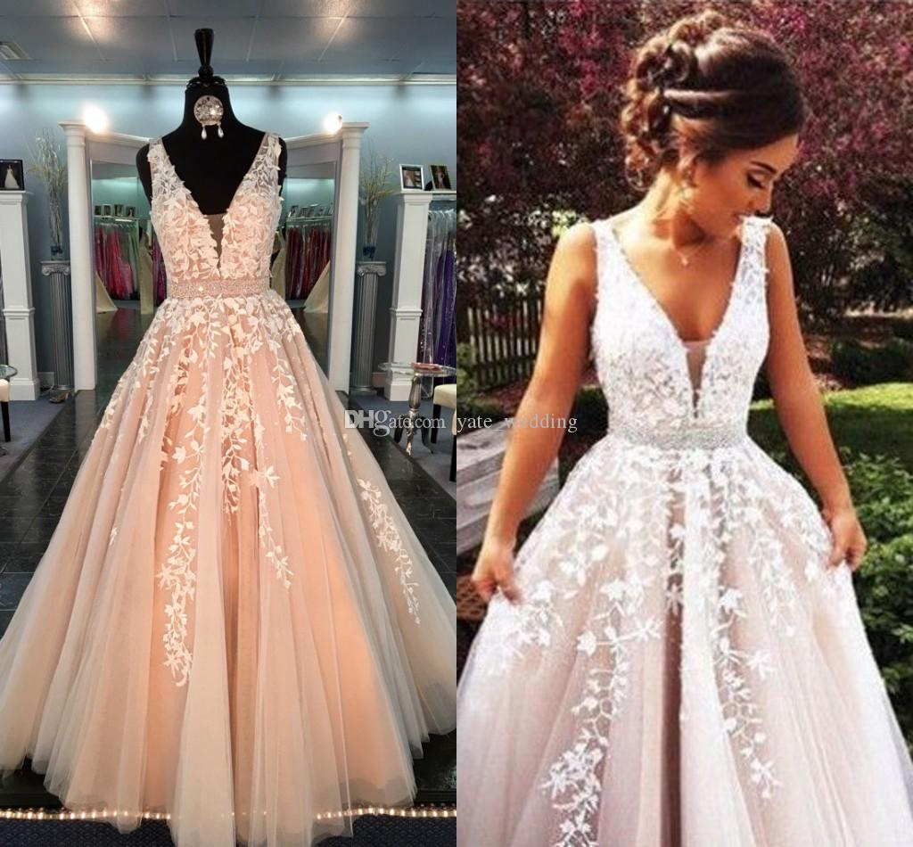Ball Gown Real Prom Dresses 2017 V Neck Sheer Straps Appliqued Lace Tulle  Floor Length Backless Blush Pink Formal Evening Gowns With Sashes Lace Prom  ... ee10af473ed7