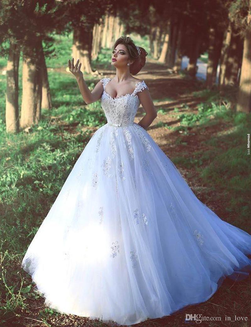 Robe de bal robes de mariée classique cape manches chérie perles dentelle longueur de plancher de tulle robes de mariée de luxe taille personnalisée