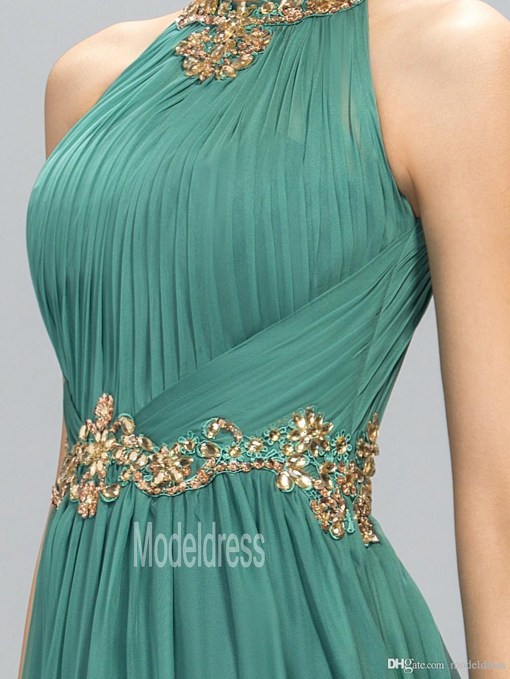 2019 New Green Prom Dresses Halter Crystal Beads Ruffles A Line Long Modest Formal Evening Party Pageant Woman Gowns Cheap Custom Made