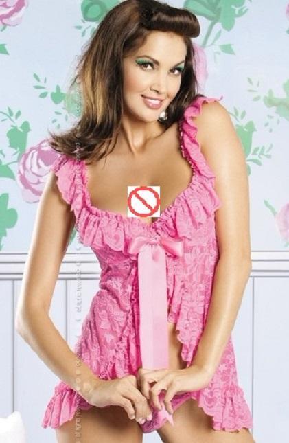 Seksi dantel yay ruffles açık çatal Gecelik t pantolon iki parçalı setleri kadın Bölünmüş pijama gecelik kıyafeti Acısını kemer Sleepshirts suits