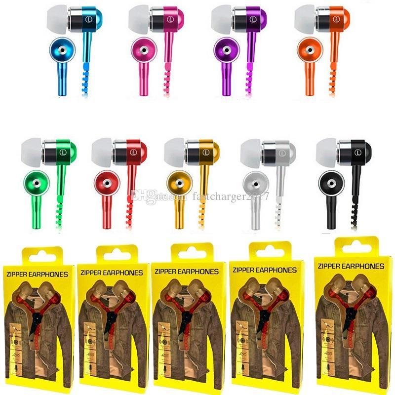 Zipper Auricolare 3.5mm Jack Bass auricolari In-Ear Headphone Zip Samsung PC del telefono METÀ Ipod MP3 MP4 con il pacchetto