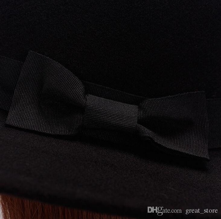 High quality Straight Top Flat Top Hat Men Women Fall Winter Felt Hat Imitation Wool Retro Gentleman Hat ceremony cap M015 with box