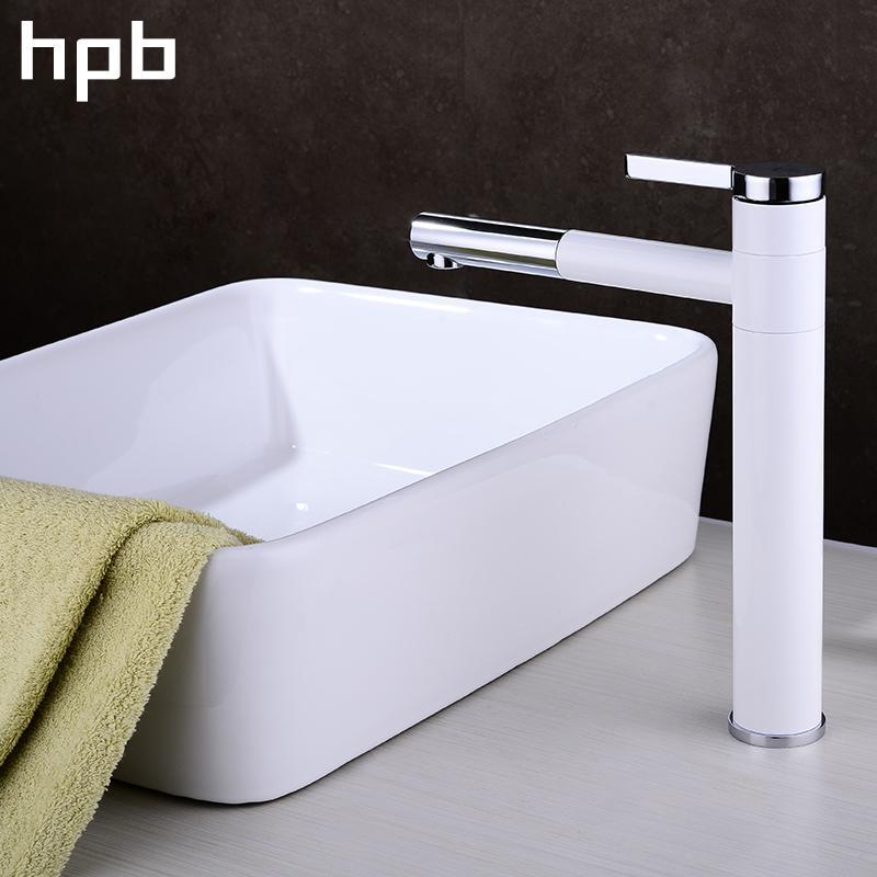 2018 Hpb 360 Degree Rotation Basin Sink Faucet ,White Chrome ...