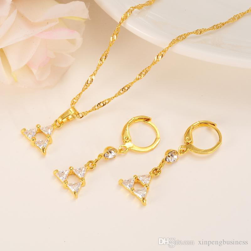 NEW 18K Yellow Fine Solid Gold Filled Jewelry Sets Big Zircon Stone CZ Diamond imitate Pendant Choker Necklace Earrings For Women
