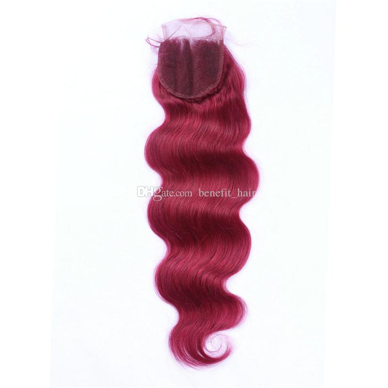 Brazilian Pure 99J Wine Red Color Hair Extensions With Top Closure 4x4 Body Wave Hair 3 Bundles With Lace Closure 10-30 inch