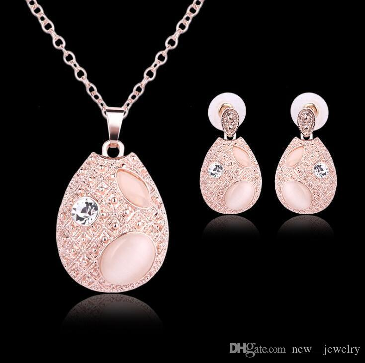 Best Quality Luxury Rose Gold Plated Jewelry Set Water Drop CatS