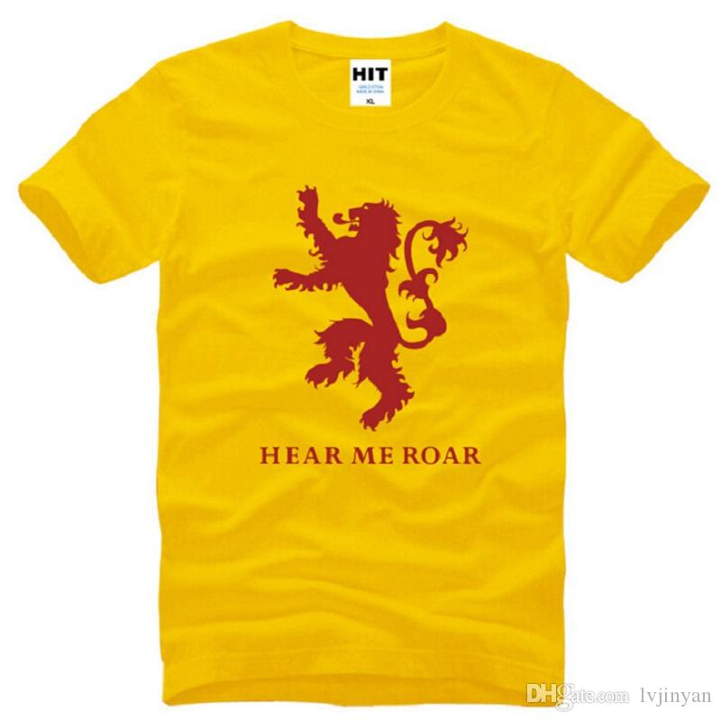 New Summer House Lannister T Shirts Men Cotton Short Sleeve O NeckHear Me Roar Game of Thrones Mens T-Shirt Male Tops Tees S-3XL