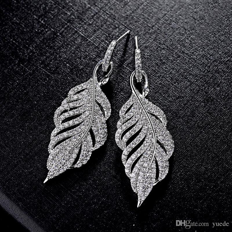 SALE 925 silver fit Pandora Europe Feather Crystal from Swarovski new fashion creative cz Earrings classic retro micro set hot jewelry