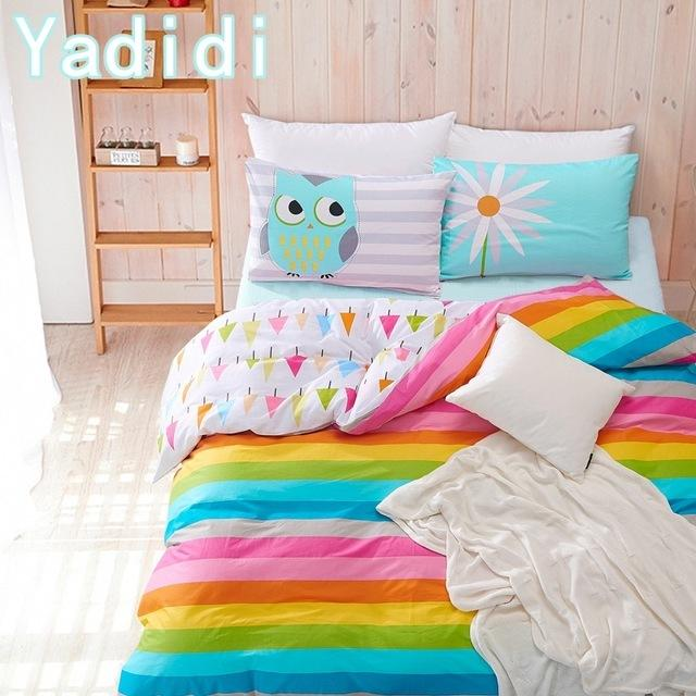 Lovely Yadidi 100% Cotton Rainbow Owl Bedding Set Cartoon Modern Flower  ZX08