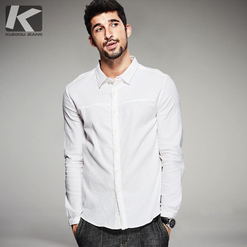 bff6045ed Wholesale- KUEGOU Spring Mens Casual Shirts White Solid Color Brand ...