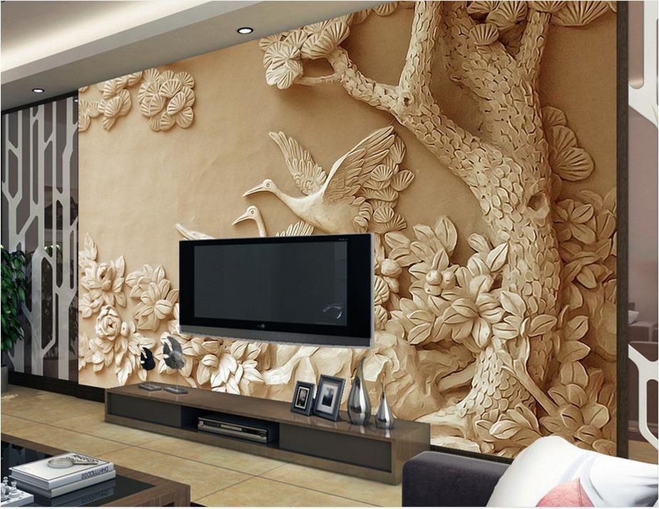 부직포 벽지 luxus 사용자 정의 3D 벽 벽화 릴리프 나무 월페이퍼 벽면 벽지를위한 3D 월페이퍼