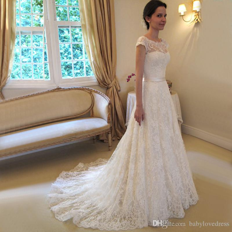 Hot sale capped sleeves full lace wedding dresses bridal gowns with bow button back sweep a line vestidos de novia