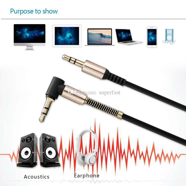 Cavo audio ausiliario 3FT / 1M Cavo audio maschio da 3,5 mm a maschio Cavo a forma di L Ad angolo retto Car Jack cuffie audio senza confezione