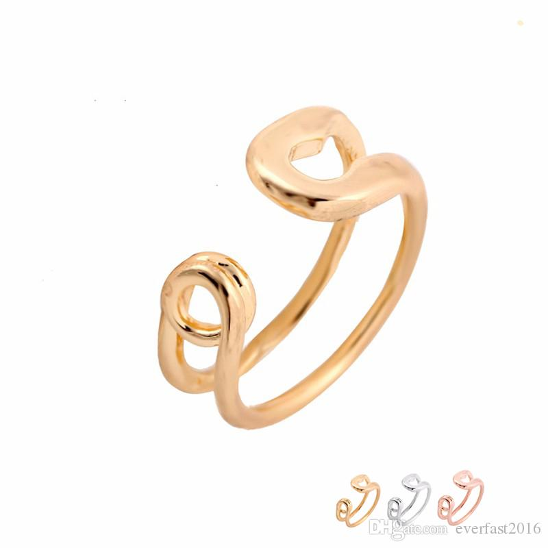 Wholesale Funny Big Safety Pin Ring Adjustable Rings Gold Silver