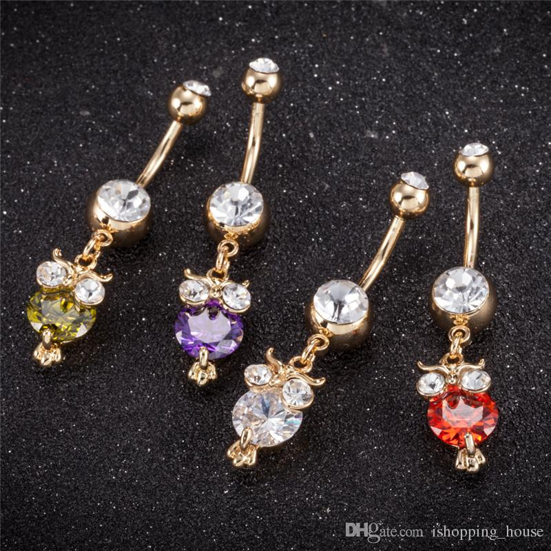 Trendy Owl Belly Ring For Women CZ Crystal Body Jewelry Women's Navel & Bell Button Rings for Sexy Ladies BR-216