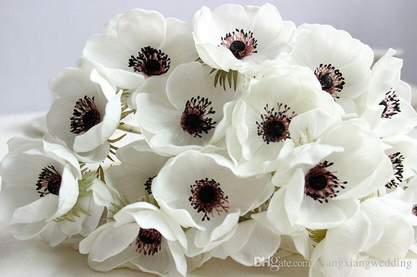 Flores de boda Real Touch Anémonas blancas Flores de PU Anémonas Artificiales para Bouquet Centros de mesa Naturales Flores de PU