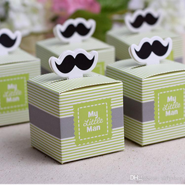 """My Little Man"" Mustache Blue Green Birthday boy baby shower Candy Box Gift Packaging Chocolate Boxes Baby Shower Favors"