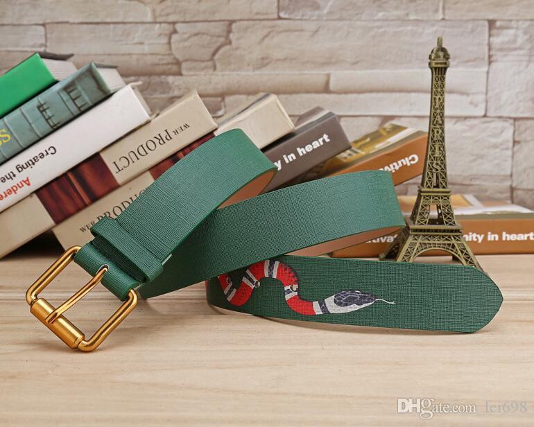 Vendita calda 2019 nuovi colori verdi modello serpente Mens Cinture di alta qualità Designer Cinture gli uomini e le donne stili cintura il regalo 758