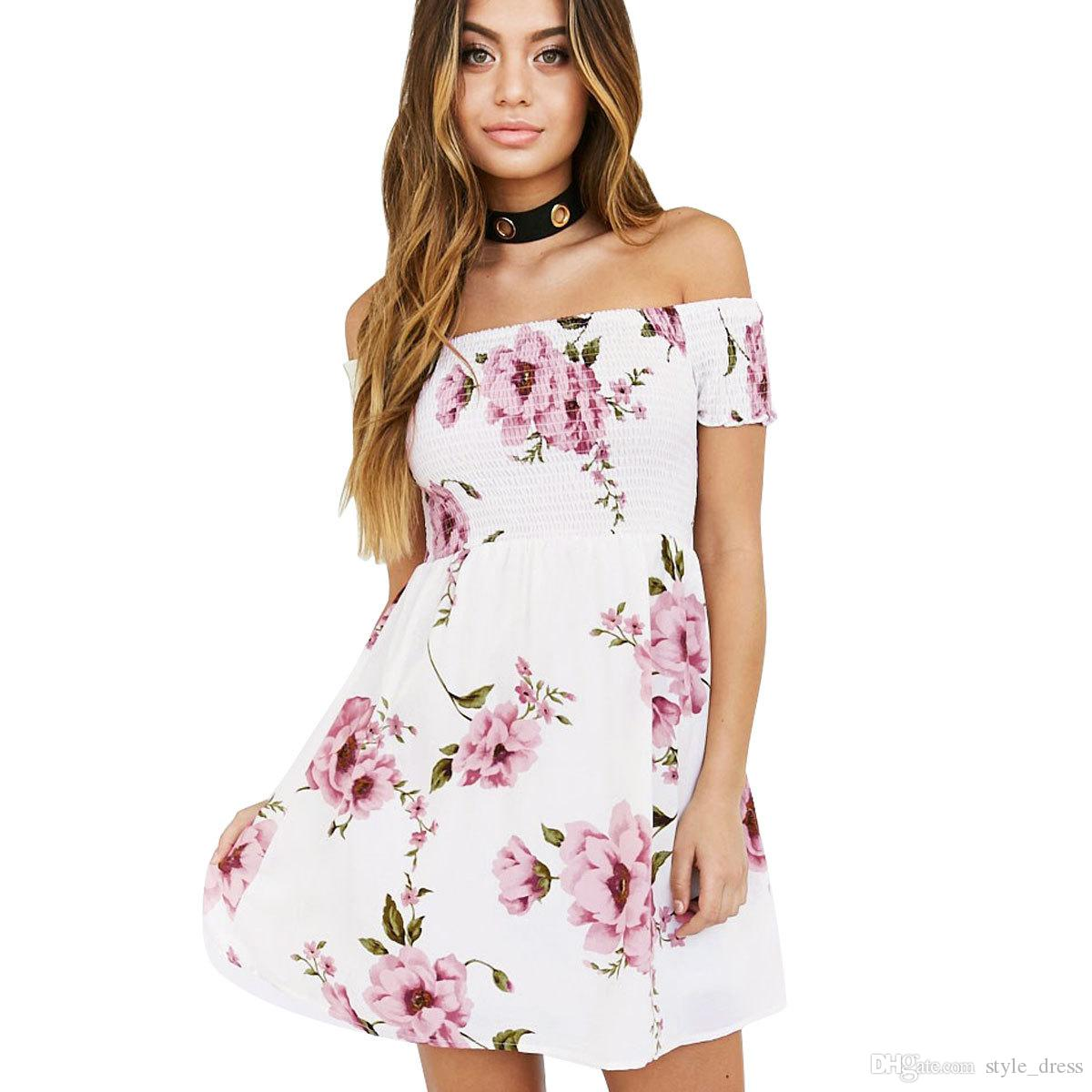 1a6c2ab347a5 Women Off Shoulder Floral Print Summer Dress Sexy Short Sleeve Beach A Line  Short Mini Casual Dress White Summer Dresses For Juniors Black Dressed From  ...