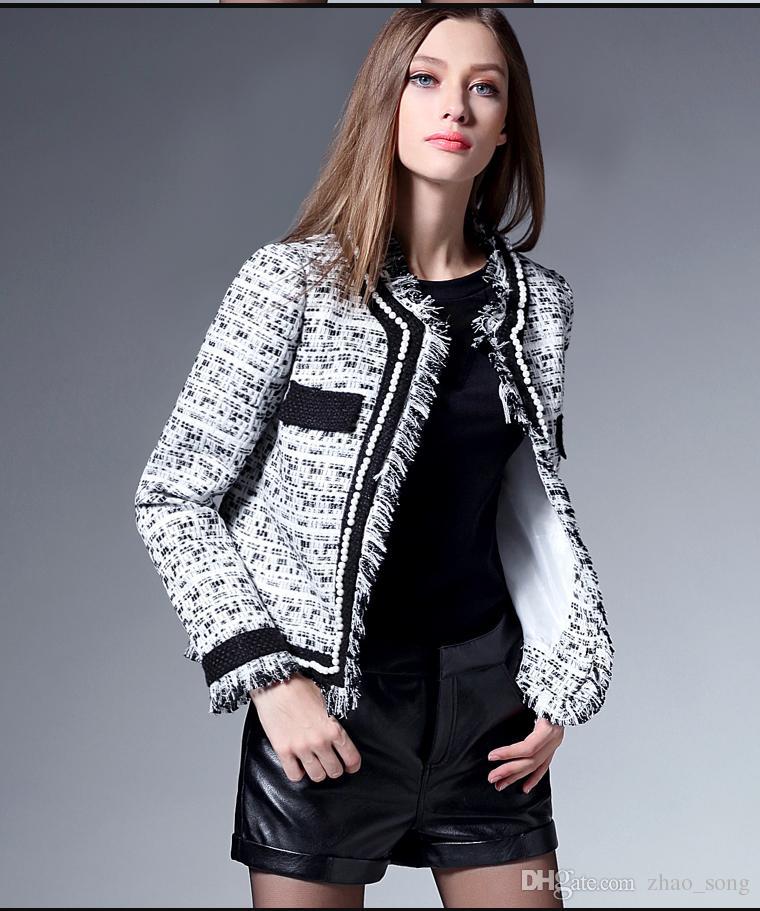 2018 yeni bahar bayanlar Ceket küçük ince tüvit kısa hırka el yapımı inci püskül çift cep büyük boy uzun kollu ceket