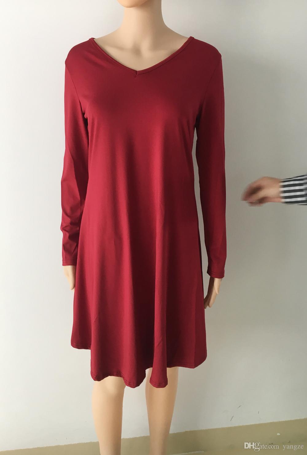 Venta caliente vestidos para mujer ropa moda manga larga otoño ocasional flojo con cuello en V camiseta más vestido de talla S M L XL QZ957