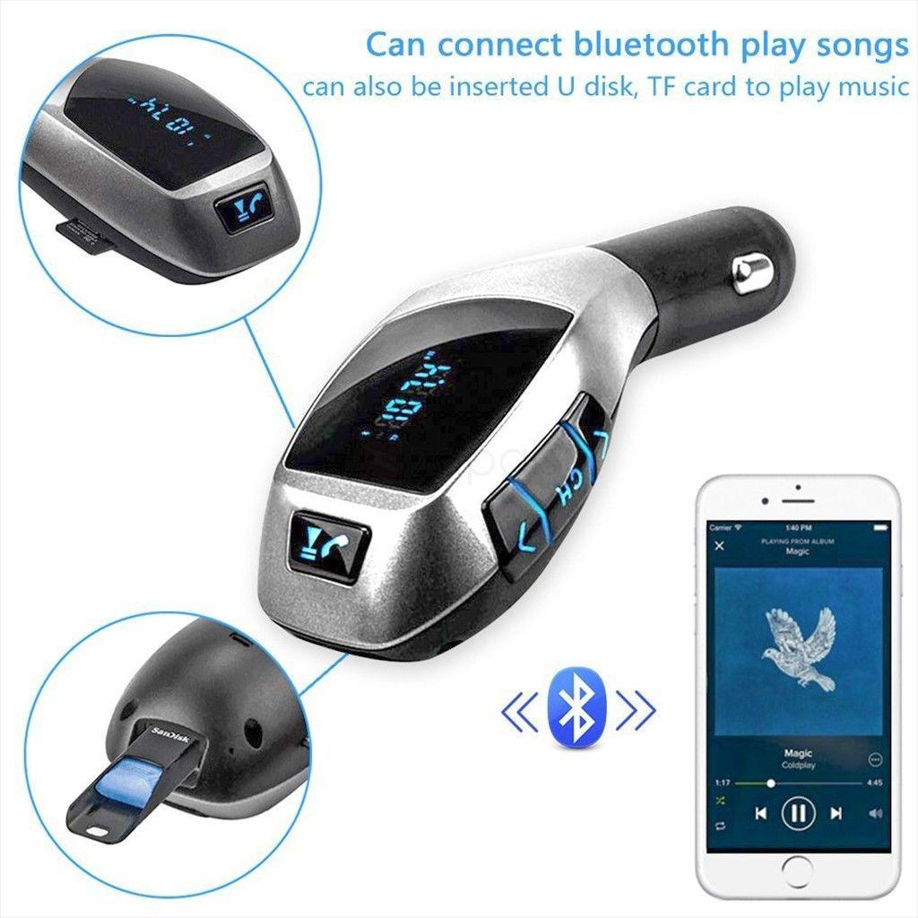 Trasmettitore FM senza fili Bluetooth Car Kit X5 Adattatore radio Caricatore auto USB con lettore MP3 USB Radio TF con display LCD Microfono USB