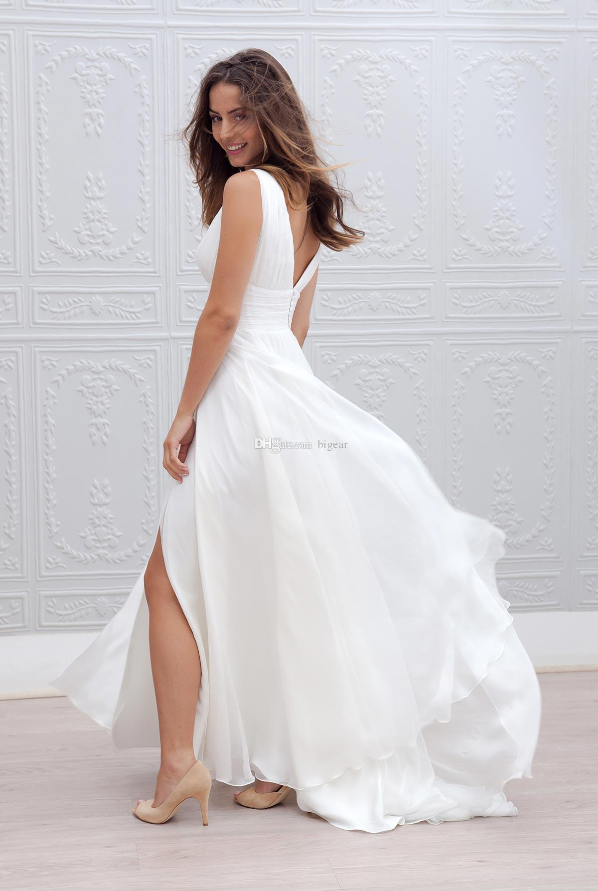 Discount Long V Neck Beach Wedding Dress With Slit Plus