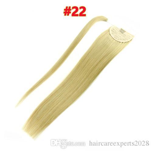8A Pferdeschwanz Menschliches Haar 120g Blondine 613 60 22.Brazilianische Jungfrau Human Hair Ponytail Erweiterungen Clip in Pferdeschwänze Menschliches Haar Kordelzug Pferdeschwanz