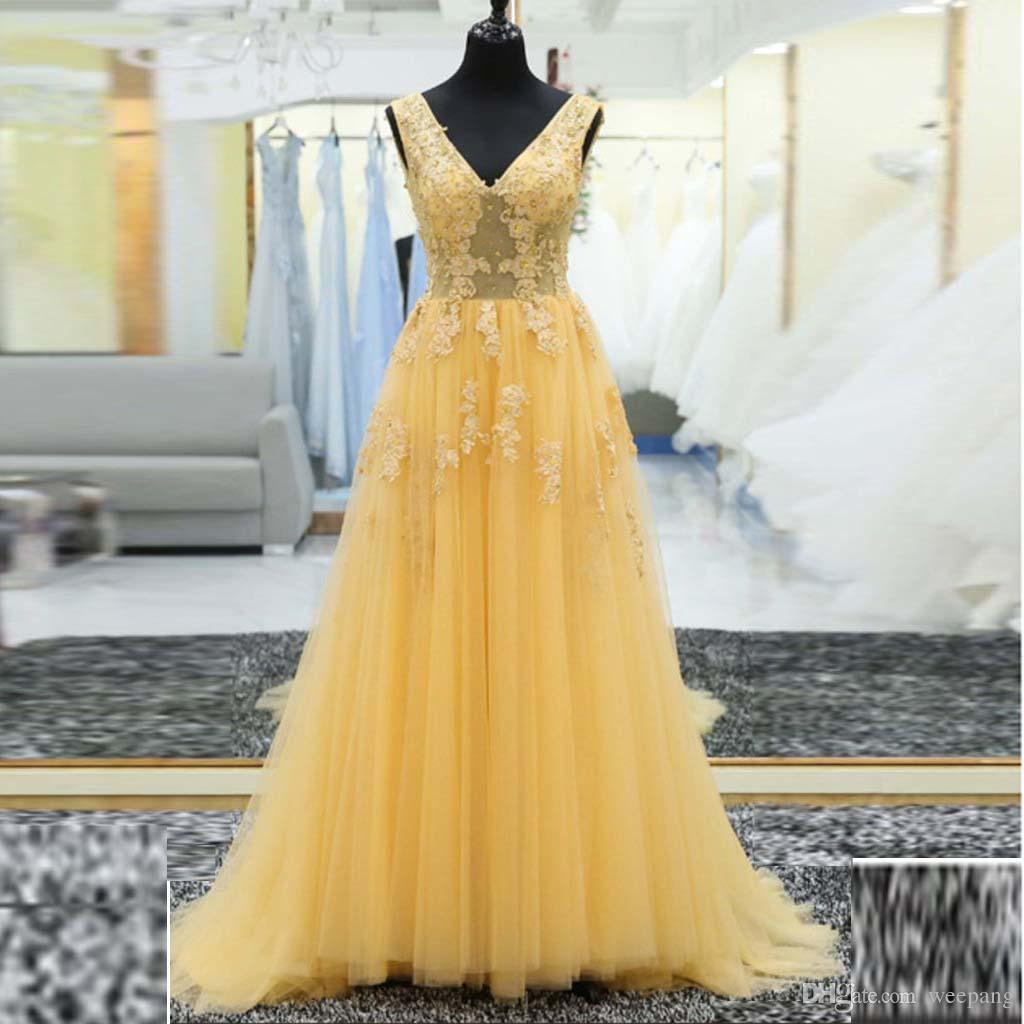 Mujeres Encaje Vestidos Baile En V Línea Con 2017 Vestido Elegante Daffodil Fiesta Lentejuelas Formal Una Cuello Apliques De Cuentas ulPkZwOiXT