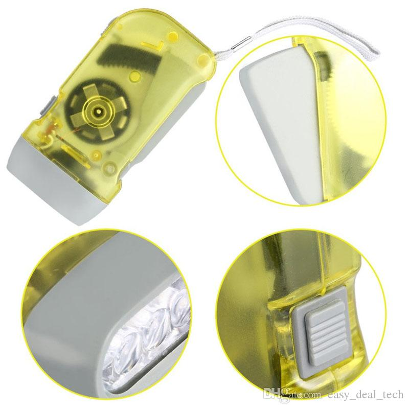 Torcia elettrica a 3 LED a mano premendo Dynamo Manovella Power Wind Up Torcia a mano leggera Manovella luci lampada campeggio ZJ0476