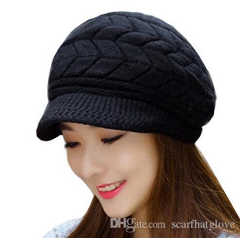 Elegant Womens Winter Rabbit Fur Hat Female Fall Knitted Hats Autumn ... 4d956509f1d