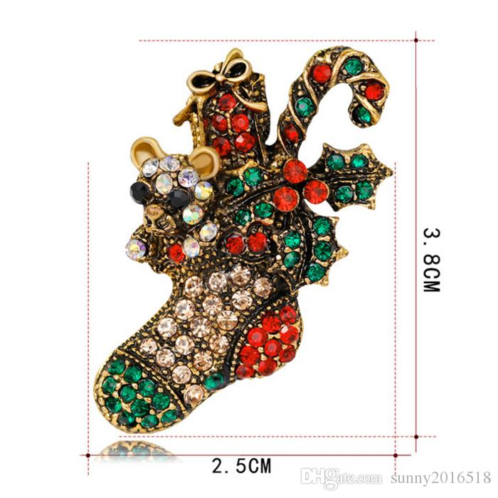 New Christmas Jewelry Multicolor Crystal Christmas Boots Brooches Antique Gold Alloy Rhinestone Flowers Brooch Corsage Pins XMAS Gifts