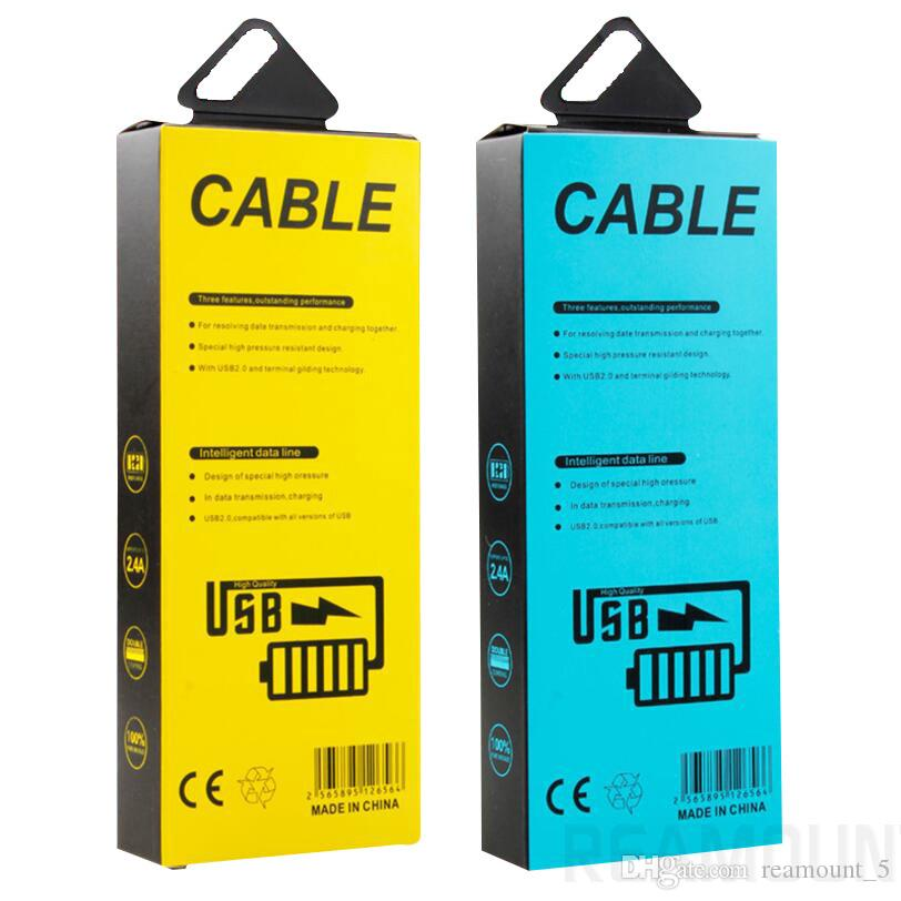 Paper Packaging Box Packing with Inserts For Micro USB Cable Package Boxes Data Line Cables charger Custom Made