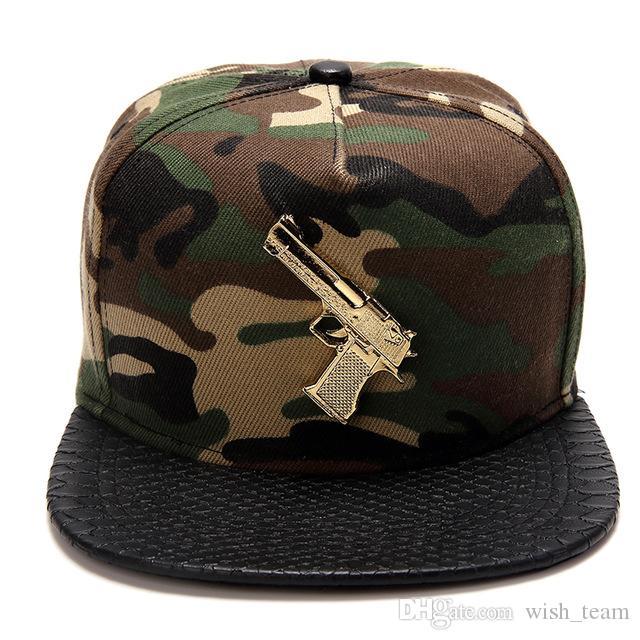 2016 Moda Snapback Gorras HipHop Gorras de béisbol Cool Gun Logo algodón casquillos ajustables Casquette estilo punky para mujeres / hombres