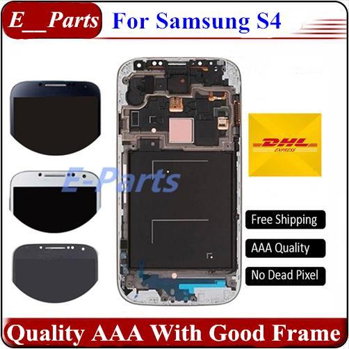 For Samsung Galaxy S4 lcd No Mark No Dead Pixel I337 I545 I9500 I9502 I9505 E300K E300S LCD Display Touch Screen Digitizer with Frame
