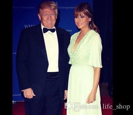 Melania Trump 2017 Abendkleider Perlenstickerei V-Ausschnitt Halbarm A Line bodenlangen Abendkleider