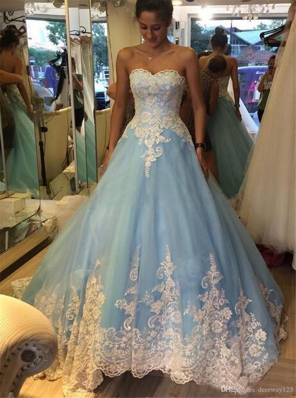 Sexy Abiti da sposa senza maniche plus size abito il 2019 un merletto di Applique linea da sposa vestiti da sposa blu Custom Light