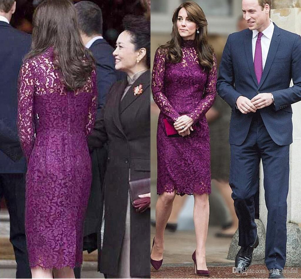 Kate middleton short evening dresses for women wear with elegant kate middleton short evening dresses for women wear with elegant knee length sheath lace long sleeve purple cocktail formal gowns 2018 cheap evening dresses ombrellifo Image collections