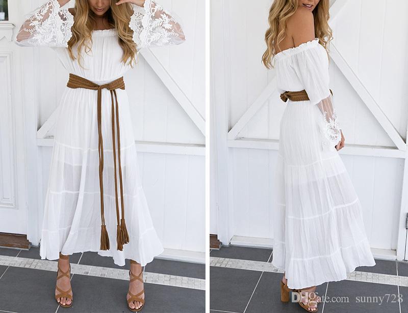 Branco Bohemian Long Beach Senhora Vestidos 2017 Nova Chegada Fora Do Ombro Manga Comprida Lace A linha de Tornozelo Comprimento Vestido de Festa Vestido de Praia Em Estoque