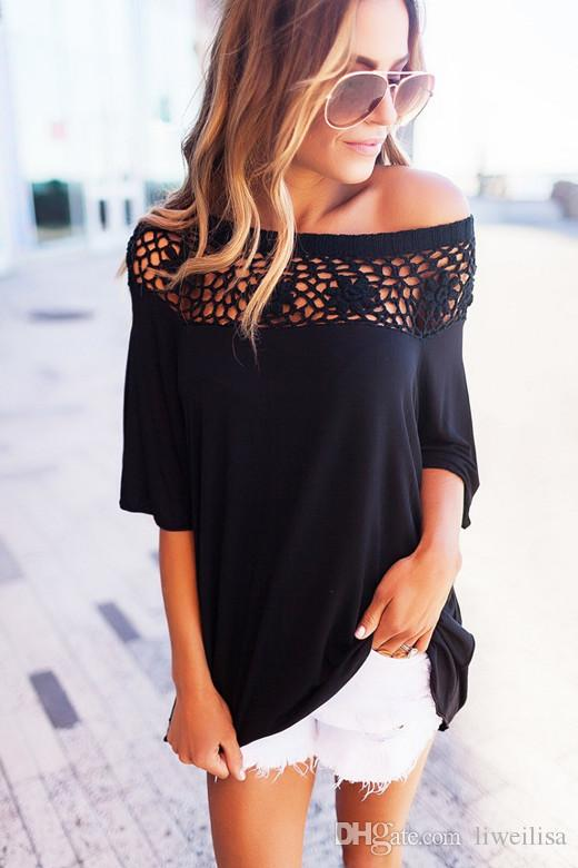 ELSVIOS Summer Lace Stitching Cotton Blouses Sexy Slash Neck Off Shoulder Blouse Shirts Casual Half Sleeve Blusa Solid Women Top