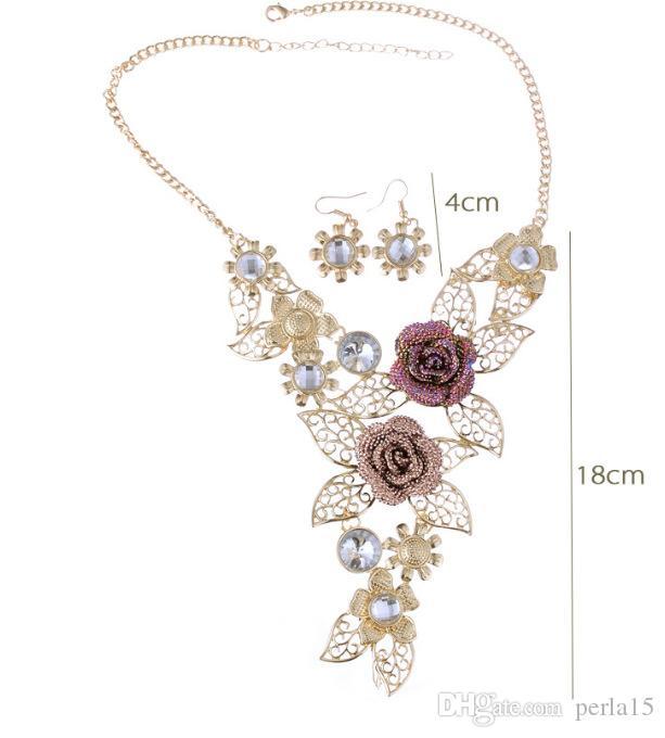 alaşım içi boş dışarı kısa kolye burgusu üst seviye kristal Abartılı takı Retro çiçek takı seti